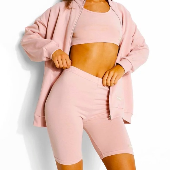 Boohoo Pink 3 Piece Track Suit Set Size 12